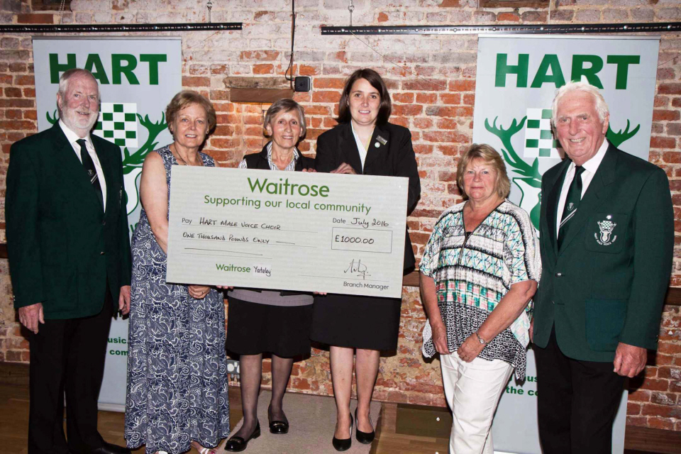 Waitrose Music Matters cheque presentation 20 July 16